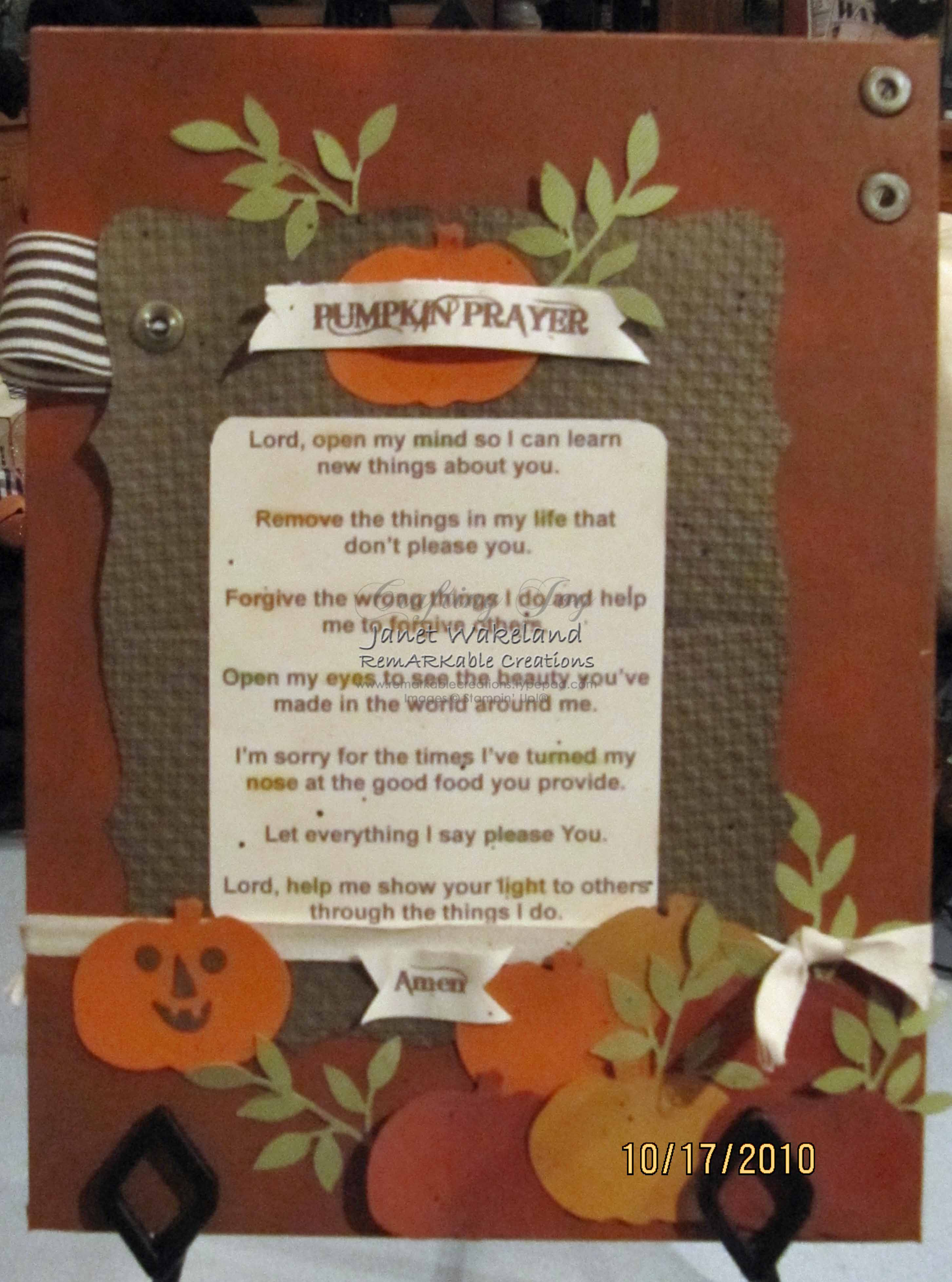 photo regarding Pumpkin Prayer Printable titled Pumpkin Prayer - Outstanding Creations
