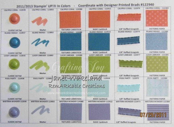 2011 2013 Stampin Up In Color Chart Remarkable Creations