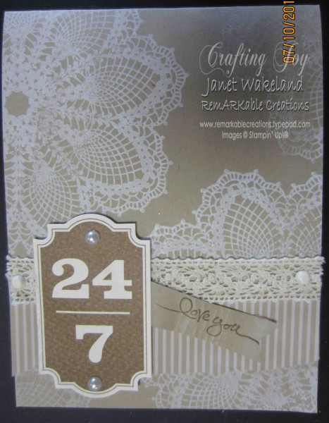 Hello doily new stampin up background stamp remarkable creations hello doily i love the new greeting set on this card friendly phrases card also features white craft ink early espresso designer paper m4hsunfo