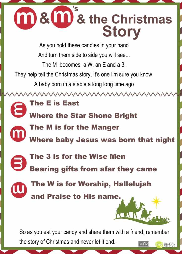 This is a photo of Lively M&m Christmas Poem Printable