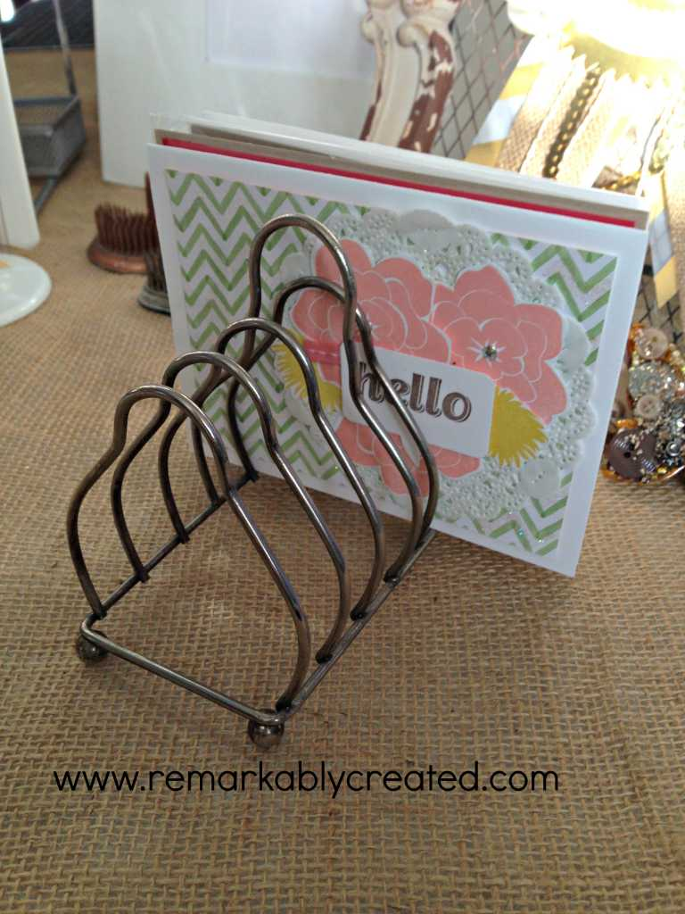 Repurposed Vintage Toast Holder Perfect For Greeting Cards