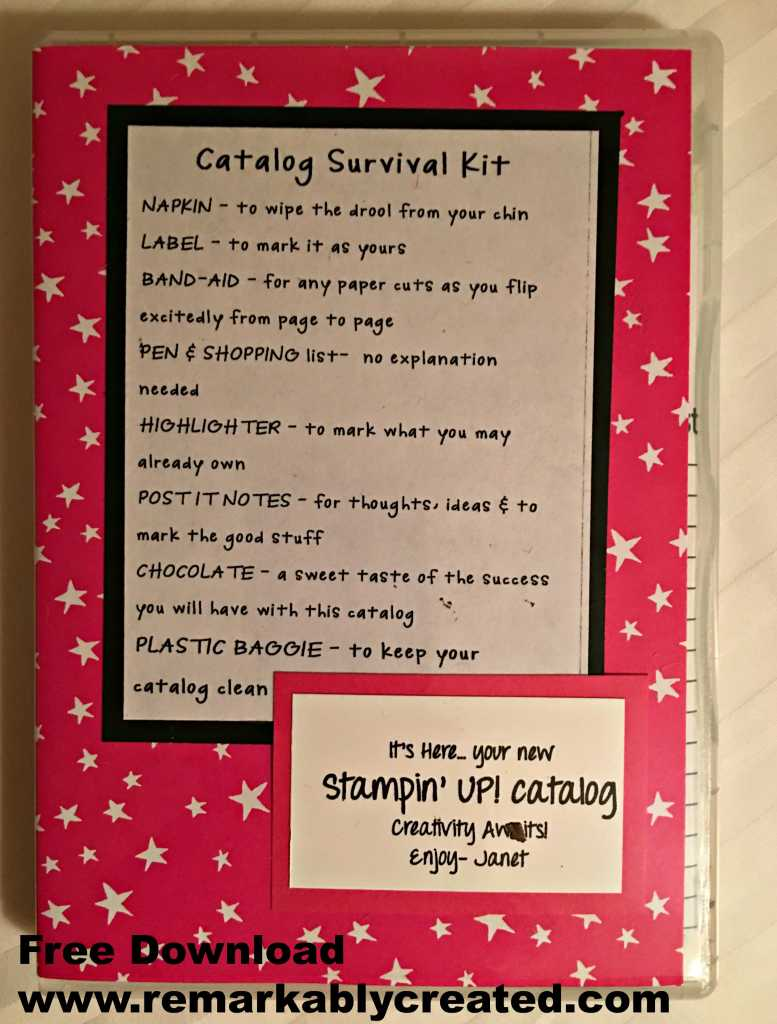 Stampin Up New Catalog Survivial Kit Remarkable Creations