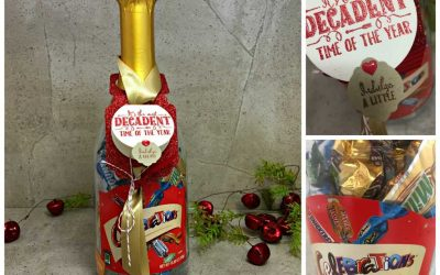 DIY a quick bottle tag for a bottle of Chocolates